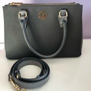 Grey/Gun Metal Bag With Gold Details